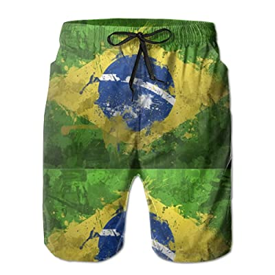 Padada Brazil Flag Mens Shorts Loose Summer Swimming Trunks Running Swimming and Surfing