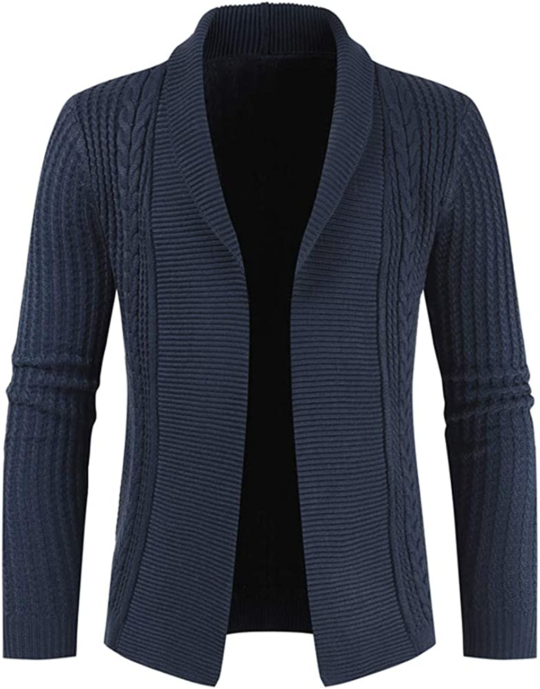 Mens Knitted Cardigan Thick Sweater Full Open Long Sleeve Jumper Autumn Winter