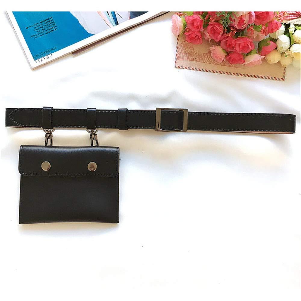 Color : Black Techecho Hip Belt Bags Women Small Belt Bags Waist Bag PU Leather Fanny Pack Removable Belt with Waist Pouch Travel Sports Bumbag Mini Purse Travel Cell Phone Bag Men /& Women Slim