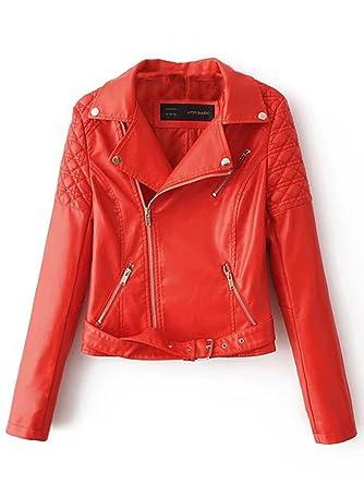 966f62d276f4 Simplee Apparel Damen Jacke Herbst Winter Cusual PU Leather Zipper Jacke  Glanz Bikerjacke mit Gürtel Rot