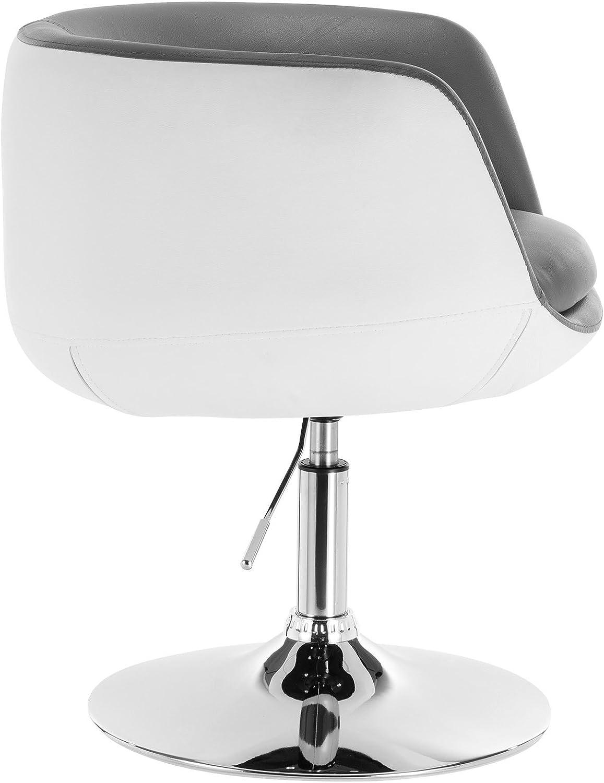 eSituro SBST0207 1x Barsessel Barhocker mit Arm-R/ücklehne mit 2 farbige verchromtem Metallgestell h/öhenverstellbar und drehbar Kunstleder Grau+Wei/ß