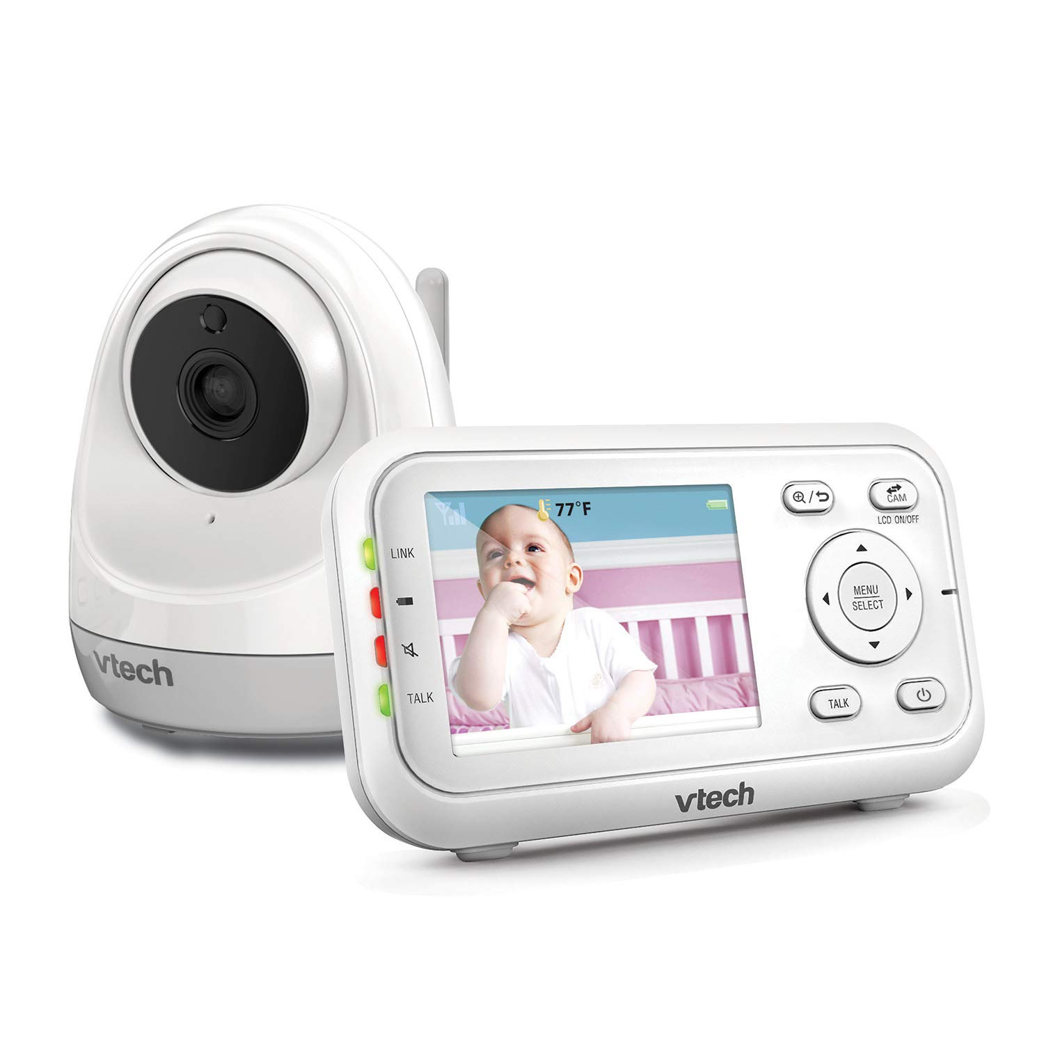 """VTech VM3261 Video Baby Monitor with Pan, Tilt, Zoom Camera, 1000ft Long Range, Auto Night Vision, 2.8"""" Screen, 2-Way Audio Talk, Motion & Temperature Alert, Lullabies and Wall-mountable with Bracket"""