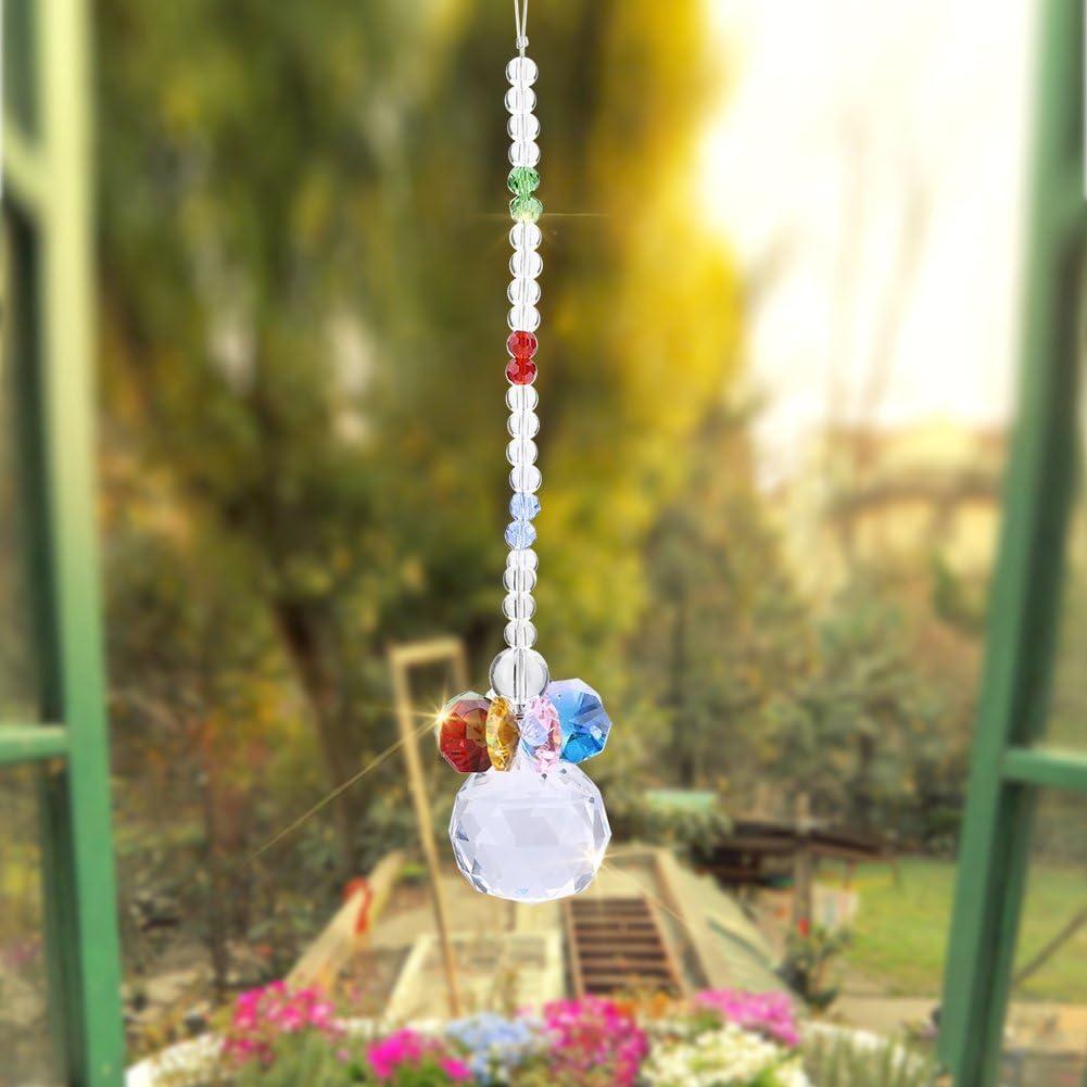 Giallo Cristallo Trasparente Sfera Prisma Pendente Perline Suncatchers Ornamento Appeso Finestra Portachiavi Artigianato Fai da Te