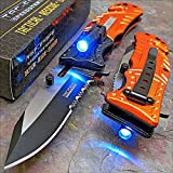 Tac-force Orange EMT LED Tactical Rescue Pocket Knife NEW