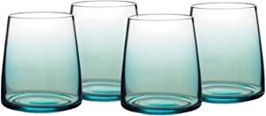 Portmeirion Glassware - Atrium 4 Piece Set of Ombre Teal Stemless 13oz Wine Glasses - Stout Glasses for Any Wines or Cocktails