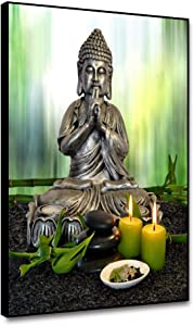 shensu Framed Canvas Wall Art Buddha Statue Zen Religious Prints Green Bamboo Candle Picture Wall Decor for Living Room Bedroom Bathroom Kitchen Office Artwork Modern Home Decoration 8x10inch