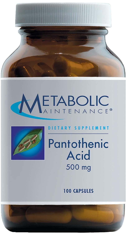 Metabolic Maintenance Pantothenic Acid - 500 Milligrams Vitamin B5, Energy Metabolism + Adrenal Support (100 Capsules)
