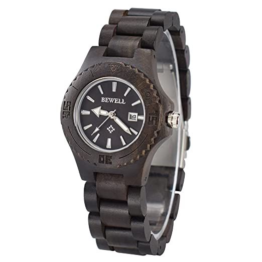 Reloj de mujer de pulsera de madera natural, reloj ecológico BEWELL W020AL reloj de pulsera de cuarzo de luz hermosa elegante, reloj uinque para mujer: ...