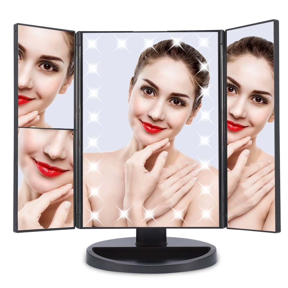 Grossissant Miroir de Maquillage Lumineux Noir Table de Miroir LED Lumi/ères Cosm/étique Triple Pliable Rotation /à 180 Degr/és avec 1X 2X 3X Grossissant Miroir LED avec Ecran Tactil C/âble USB