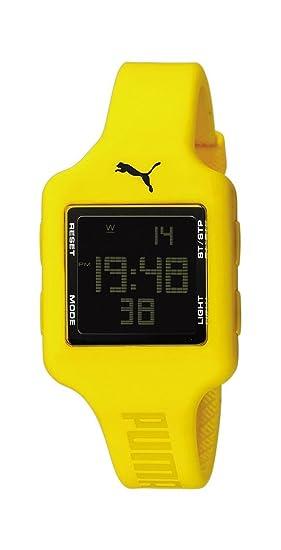 Puma Slide- S Yellow - Reloj digital de mujer de cuarzo con correa de plástico amarilla (cronómetro) - sumergible a 30 metros: Amazon.es: Relojes