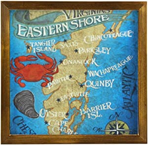 Tamengi Wooden Wall Decor Sign Virginia Eastern Shore Map Farmhouse Home Family Decorations Wall Art Sign for Housewarming Gifts Party Gift Wedding Gift 12''X12''inch Wood Plaque