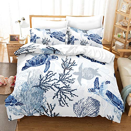 Erosebridal Turtle Bedding Sets Queen White Blue Hawaiian Duvet Cover Set,Tortoise Bedspreads Beach Theme Quilt Cover Underwater Children Comforter Cover for Summer ()