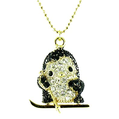 Black and clear crystal on gold plated skiing penguin pendant black and clear crystal on gold plated skiing penguin pendant necklace aloadofball Gallery