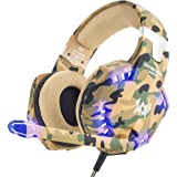 VersionTECH. Gaming Headset PS4 Kopfhörer Professionelle 3,5 mm PC LED-Licht Spiel Bass Kopfhörer Stereo Noise Isolation Over-Ear-Headset mit Mikrofon für PS4 Neue Xbox one Laptop Computer und Smart Phone iPhone, Camouflage