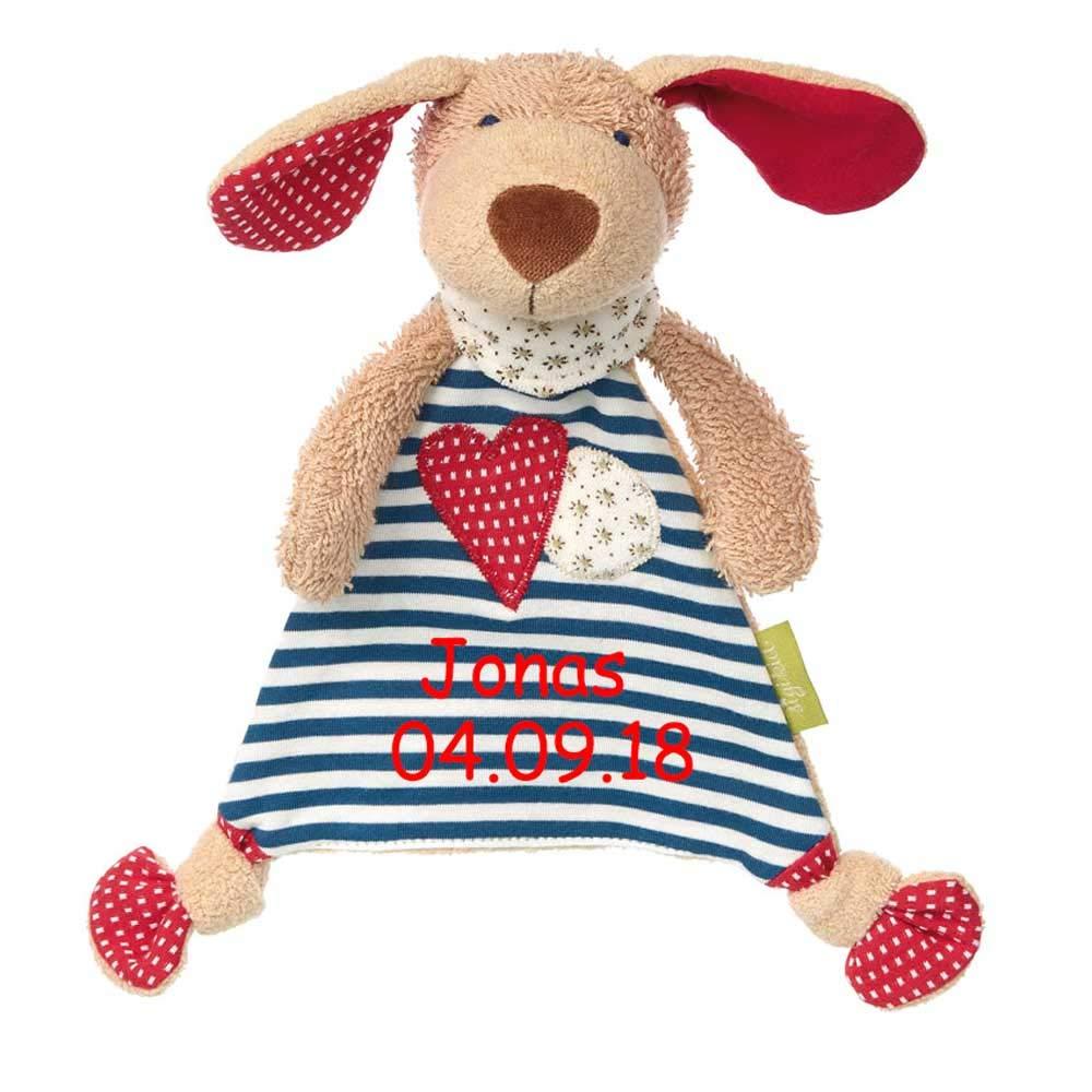 Sigikid Schmusetuch mit Namen bestickt Baby Geschenk zur Geburt Schnuffeltuch Hase Maus Bär (Bär) SL-Store GbR SI-green
