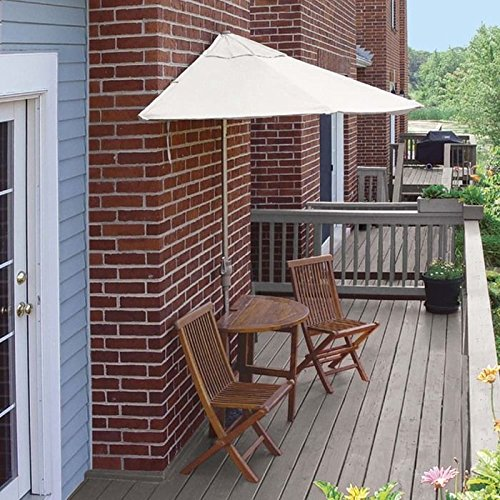 Wall Natural Olefin Umbrella (Blue Star Group Terrace Mates Bistro Premium Table Set w/ 9'-Wide OFF-THE-WALL BRELLA - Natural Olefin Canopy)