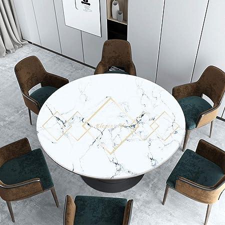 Estilo Nórdico Inicio Gruesa Mantel De PVC, Textura De Mármol Resistente Al Agua Y Al Aceite Apto for Mesa De Comedor Mesa De Café Terraza Jardín (Color : A, Size : Diameter-100cm):
