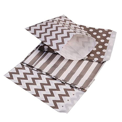 NUOBESTY Bolsas de papel para dulces de fiesta, rayas, punto ...