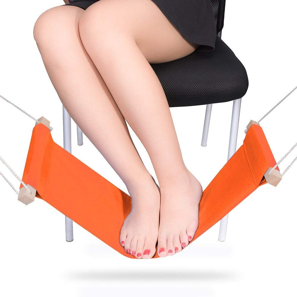 Geekfactory Mini Office Foot Rest Stand Desk Feet Hammock, Orange