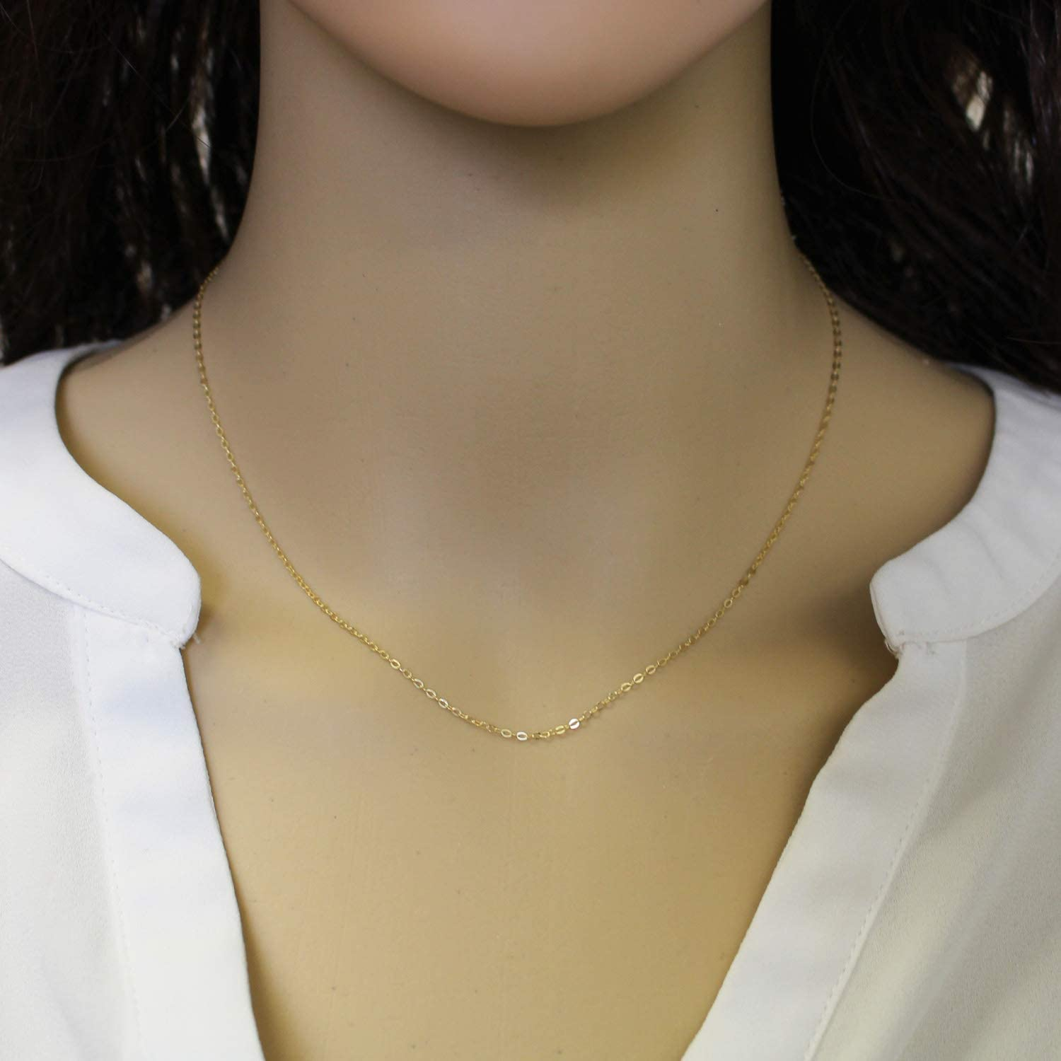 36 inches Vermeil,925 Sterling Silver Chain,Necklace Cable Flat Oval All Sizes 22K Gold Plated Finished Necklace for Pendant