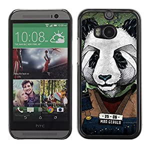 iKiki-Tech Estuche rígido para HTC One M8 - Cool Panda Mug Shot Art