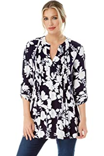 1599fadce028 Roman Originals Women Floral Jersey Shirt - Ladies V-Neckline 3 4 Sleeve Top
