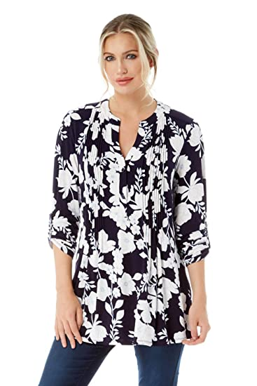 58628d0b968575 Roman Originals Women Floral Jersey Shirt - Ladies V-Neckline 3 4 Sleeve Top  Slim Fitted Blouse Daytime Work Office Spring Tops Blue  Amazon.co.uk   Clothing