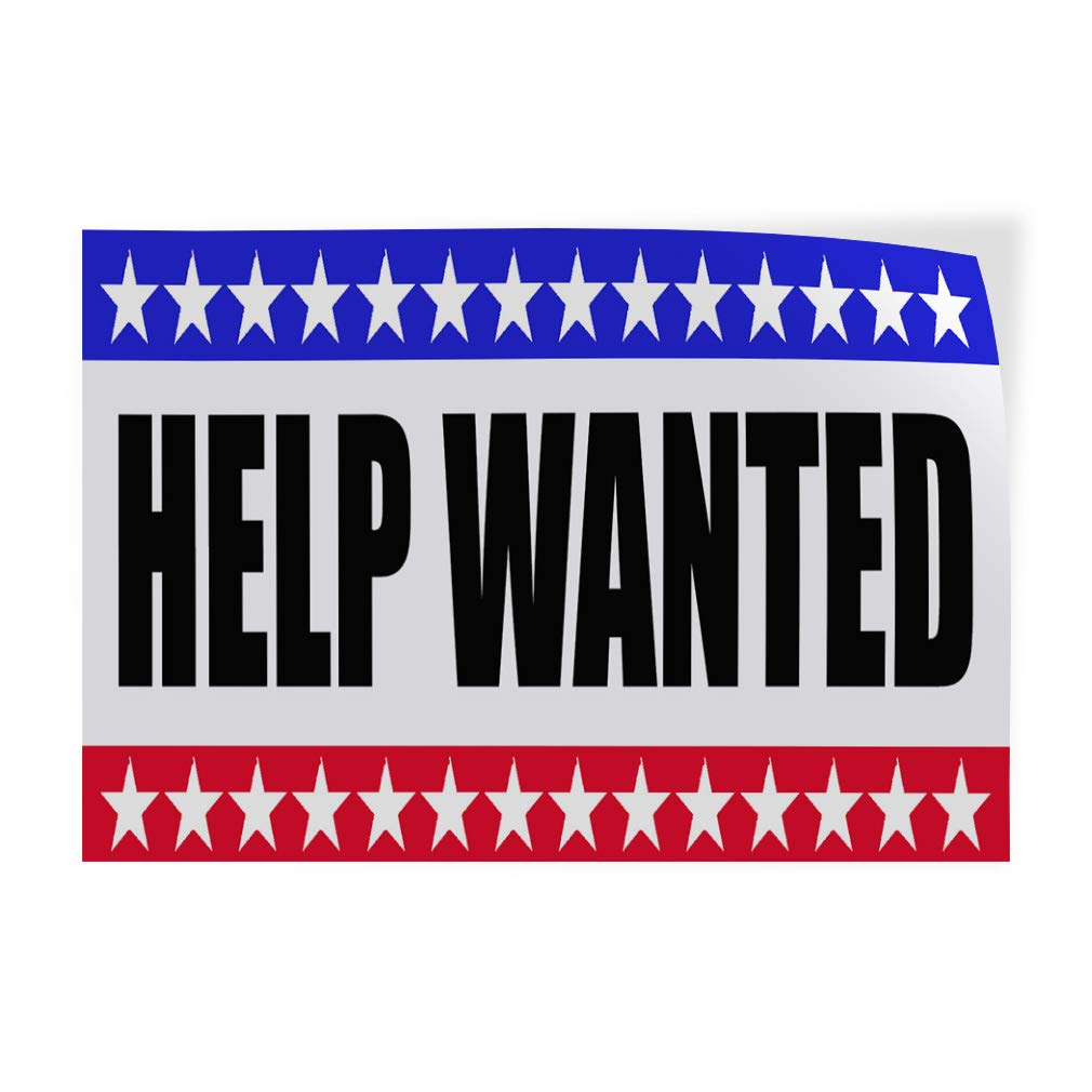 Decal Sticker Multiple Sizes Help Wanted Business Business Help Wanted Advertisement Outdoor Store Sign Blue 14inx10in Set of 10