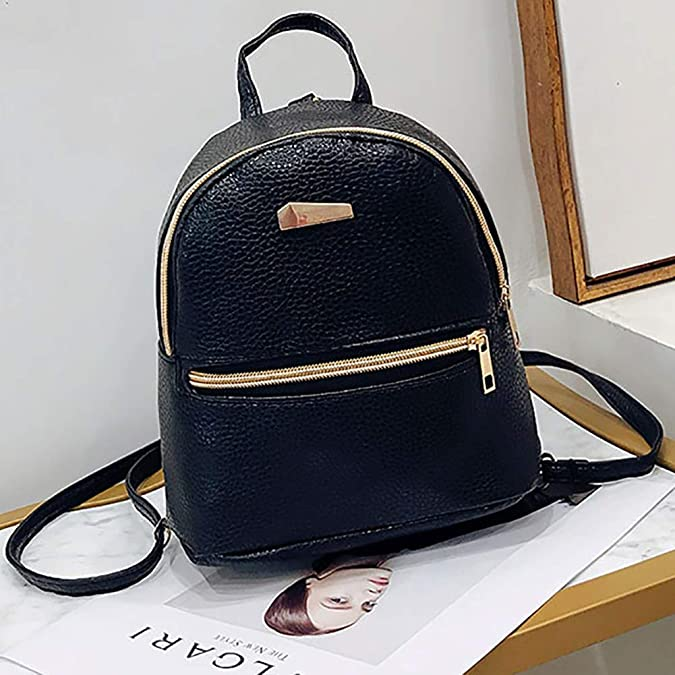 Amazon.com: College Backpack bag Mini Shoulder Bag PU leather Fashion girl candy color small backpack female bag - Black: Shoes