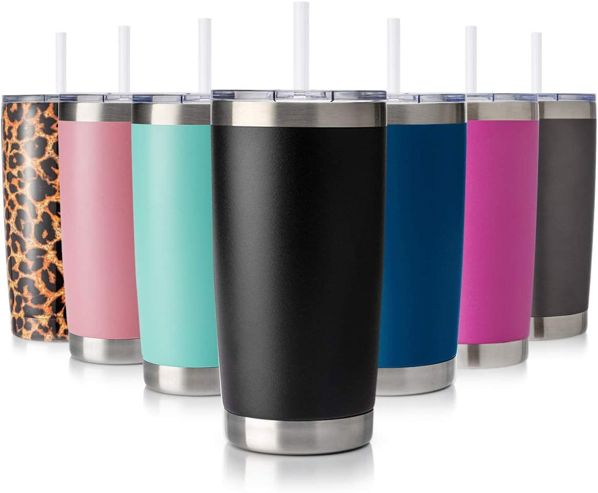 Civago 20oz Tumbler with Lid and Straw, Stainless Steel Vacuum Insulated Coffee Tumbler Cup, Double Wall Powder Coated Travel Mug (Black, 1 Pack)