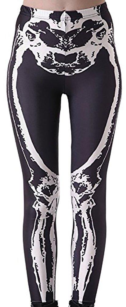 Christal Town Women's Soft Halloween Skulls Regular and Plus Leggings Pants I-White Skeleton in Black Plus Size (Size 12-24)
