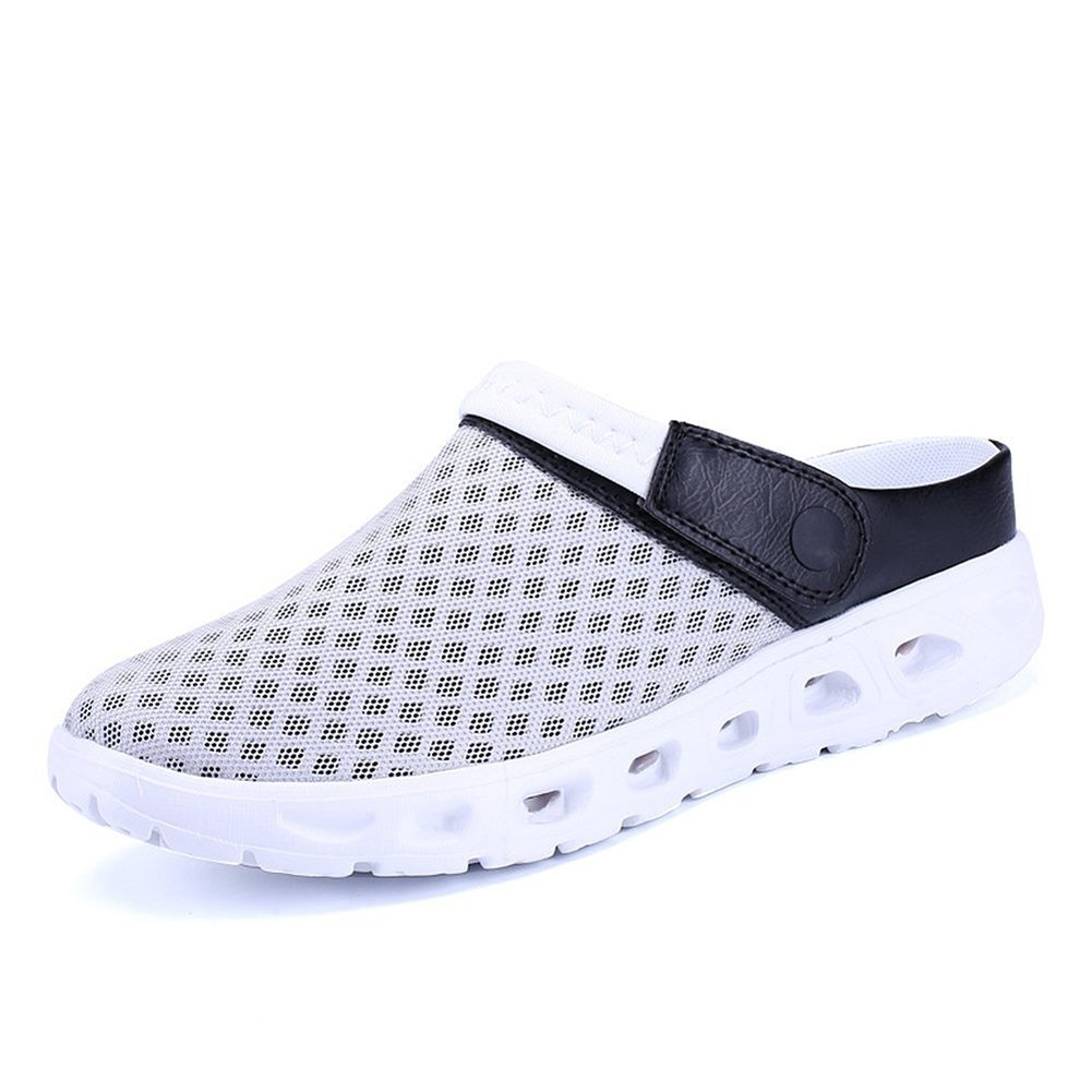 CCZZ Men's and Women's Summer Breathable Mesh Beach Sandals Slippers Quick Drying Water Shoes Amphibious Slip On Garden Shoes B07BWBFKV7 US 11=EU 46|Gray White
