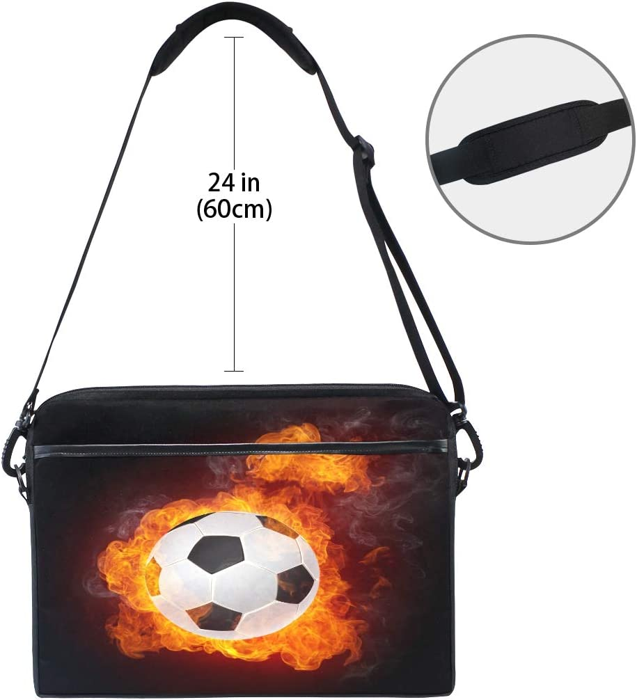Sport Soccer Football Fire Isolater Laptop Computer Sleeve Bag Protective Shoulder Bag Carrying Case Briefcase for Office Women Men QMXO 14-14.5 inch Laptop Case
