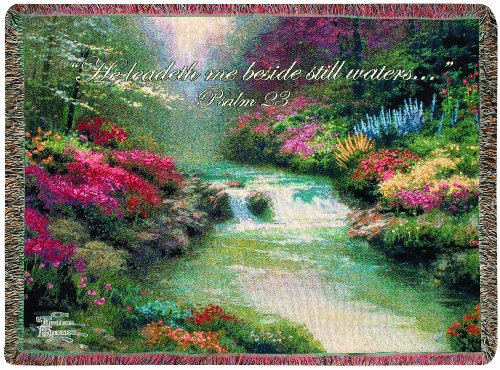 (Manual Thomas Kinkade 50 x 60-Inch Tapestry Throw with Verse, Beside Still Waters)