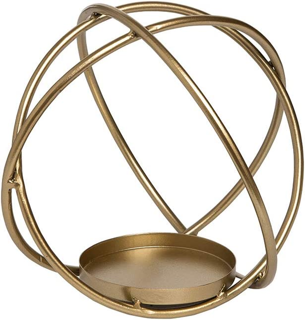 Foreside Home and Garden Brass Modern Metal Orb Sculpture Votive Candle Holder