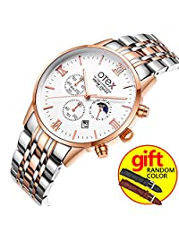 Men Sport Steel Waterproof Wristwatch Men Watches Brand Luxury Fashion Business Quartz Watch Manufacturer (Rose gold and white)