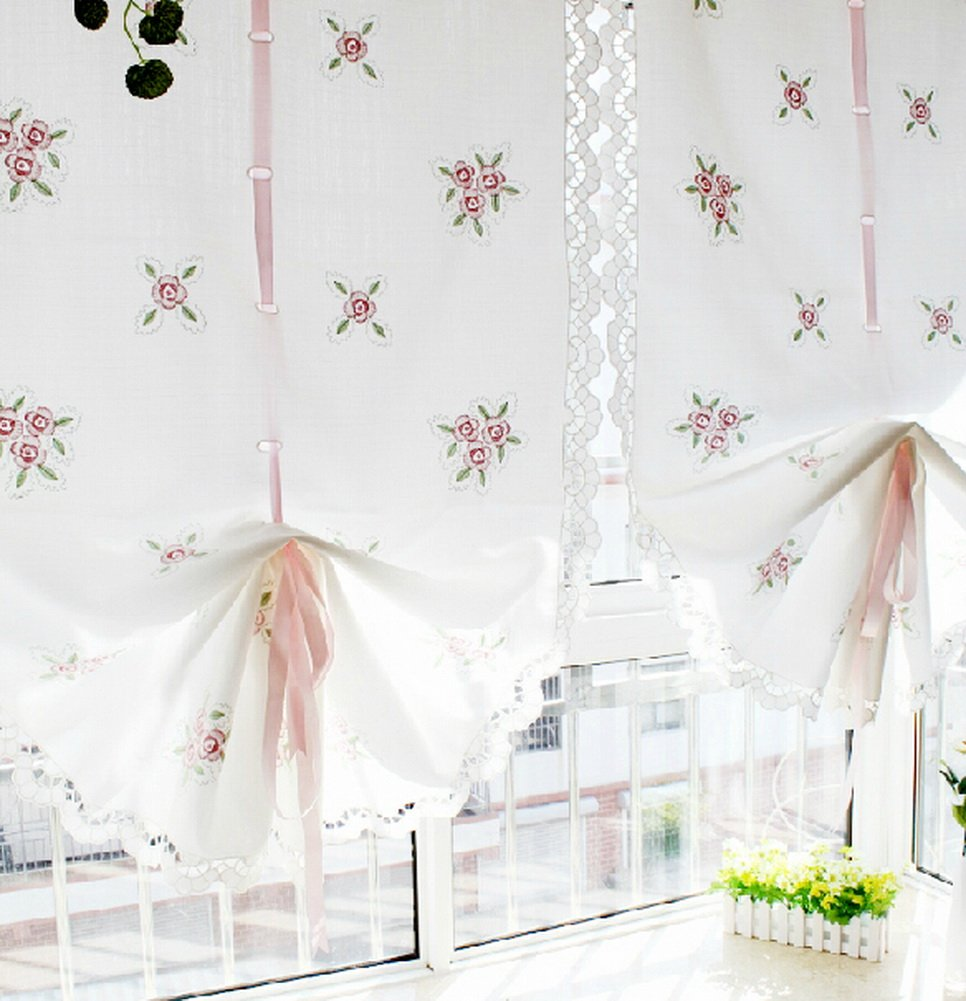 Pink Flower Embroidery Balloon Curtain Featured Linen Window Sheer PANDA SUPERSTORE PS-HOM3736251-EMILY02215