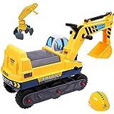 deAO Veicolo Trattore Escavatore 2x1 – Cavalcabile Per Bambini Include Due Estensione