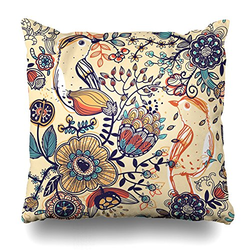 Kutita Decorativepillows Covers 20 x 20 inch Throw Pillow Covers,Floral With Birds And Fantasy Flowers Pattern Double-sided Decorative Home Decor Pillowcase Garden Sofa Bedroom Car Nice Gift (Berry Floral Wallpaper)