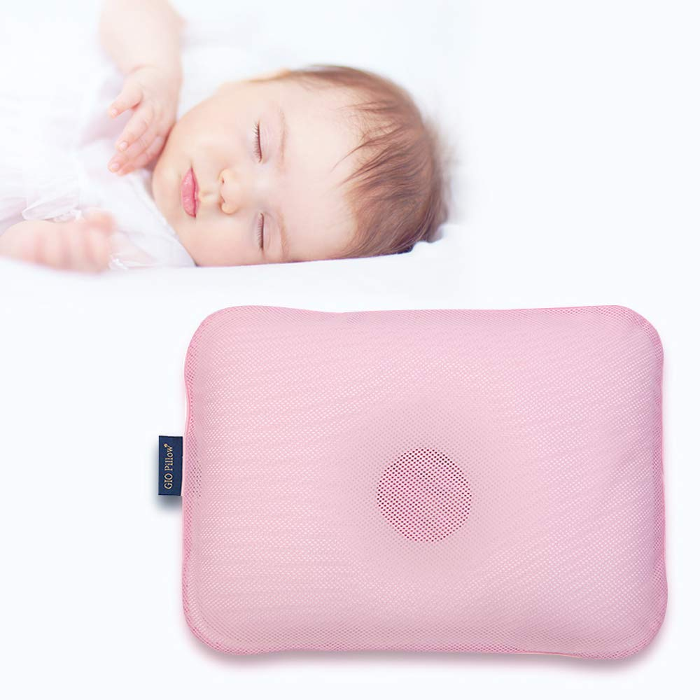 Gio Pillow 3D Air Mesh Toddler Pillow, Premium Head Shaping Pillow, Flat Head Syndrome Prevention, Made in Korea [Emerald Pink/Toddlers 6-24 Months]
