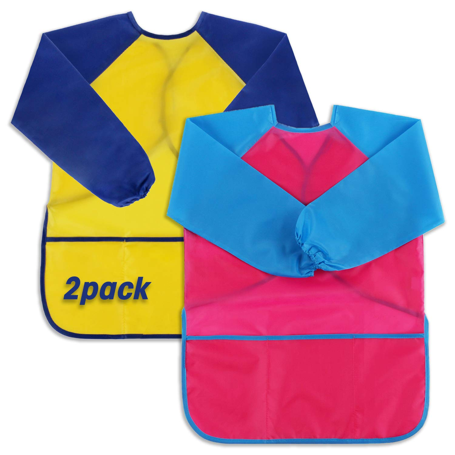 Scotamalone Kids Aprons, Art Smocks, 2 Pack, Children Waterproof Artist Painting Aprons Long Sleeve with 3 Pockets for Age 2-6 Years
