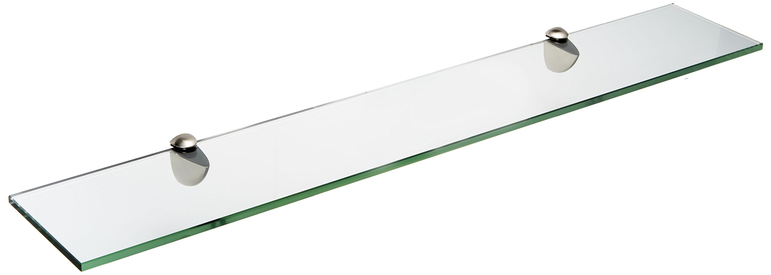 Spancraft Glass Peacock Glass Shelf, Brushed Steel, 6 x 36