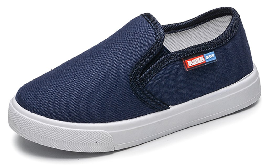 VECJUNIA Boy's Girl's Solid Casual Anti-Skid Low Top Round Toe Canvas Slip on Flats Shoes (Blue, 9 M US Toddler)