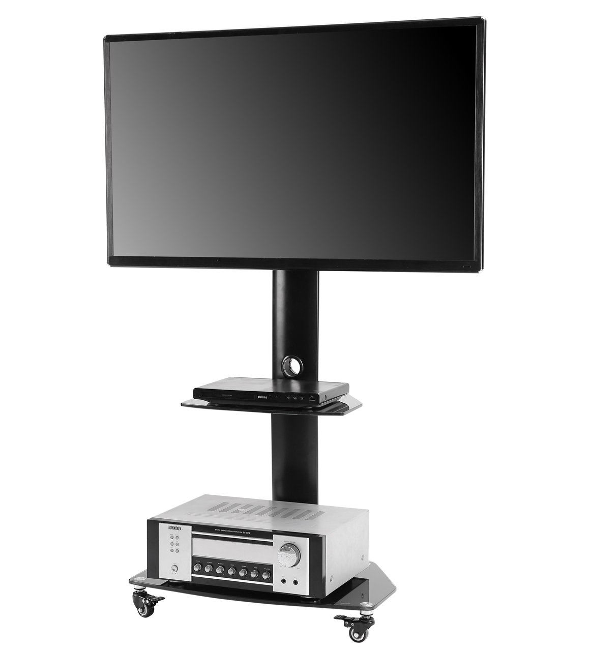 TAVR Rolling Floor Stand Mobile TV Cart with Universal Swivel Mount Wheels and Glass Shelf for 27''- 55'' Flat Curved Screen, Black TF9001