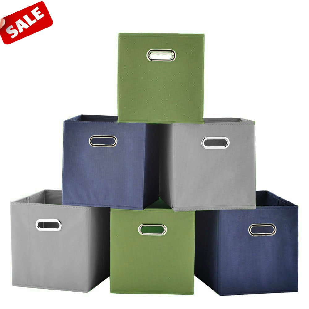 SHACO Durable Double Metal Handle Cloth Storage Cubes, Multiple-Color Foldable Cube Storage Bin(6 Packs)