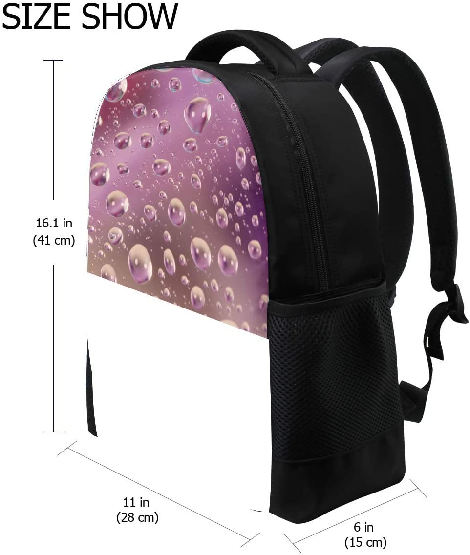 Drop Surface Wet Bubbles Bookbag School Backpack Luggage Travel Sport Bag