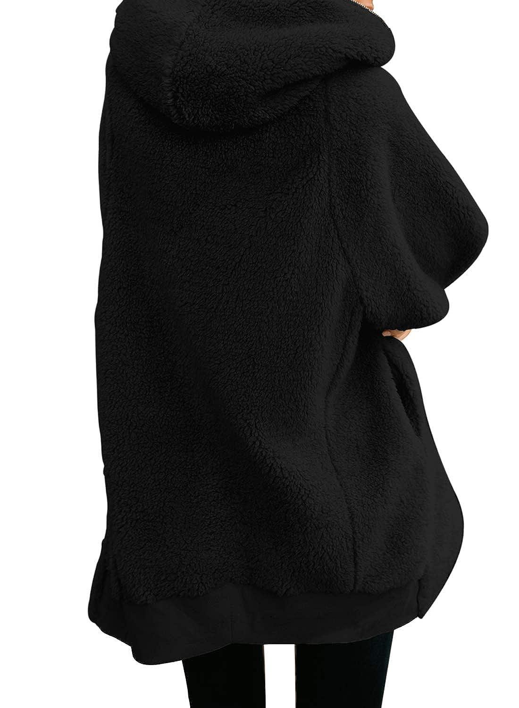 Lovezesent Womens Fuzzy Fleece Open Front Hooded Cardigan Coats Loose Outwear S-XXL