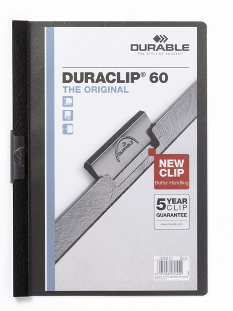 DURABLE 220003 - Duraclip 30, cartellina con clip per archiviare documenti, capacità 1-30 fogli, f.to A4, rosso, confezione da 25 pezzi