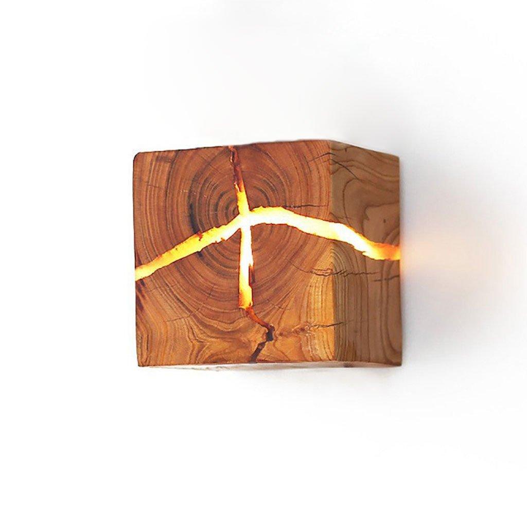 Gweat Nordic Minimalistischen Stil Kreative Wandleuchte Nachtlicht warmweiß Holz Wandleuchte LED Nachttischlampe Innenkorridor Lichter 8  8  8 cm