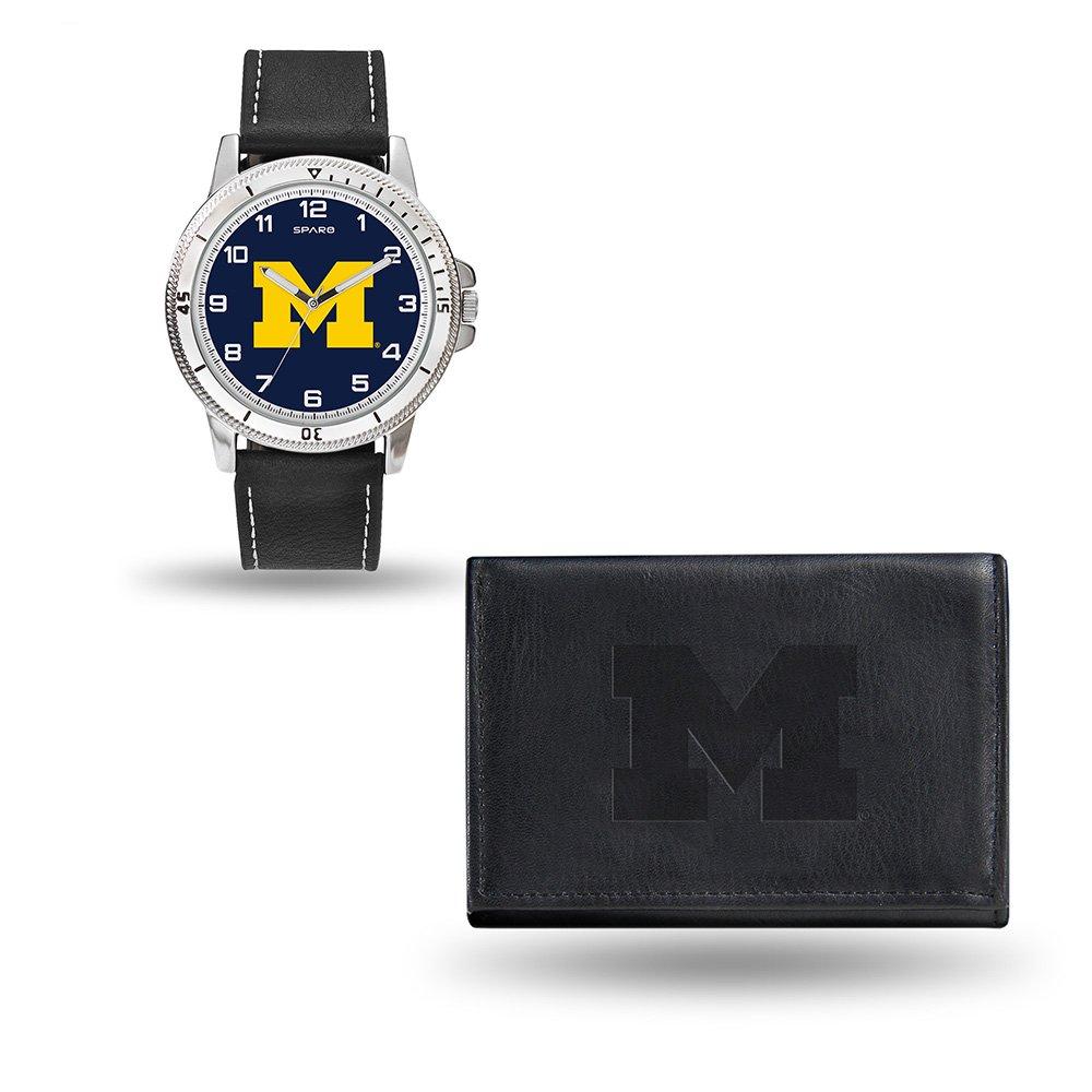 NCAA Michigan Wolverines Men's Watch and Wallet Set, Black, 7.5 x 4.25 x 2.75-Inch